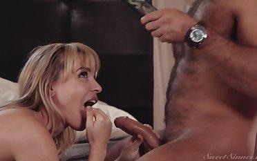 Busty blonde milf Dana Dearmond rides a long dick in the hotel room