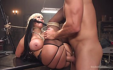 Busty Latina cougar tries cock in brutal bondage scenes