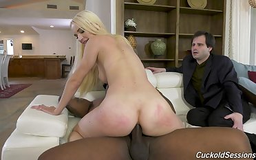 Waggish grow older hubby watches his wife riding BBC with her ass