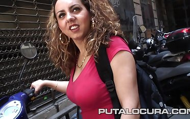 Busty Spanish mollycoddle in amateur hardcore action with cumshot in Barcelona