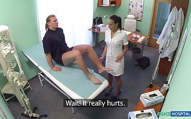 Patient close by big detect gets full body exam by hot nurse Mea Melone