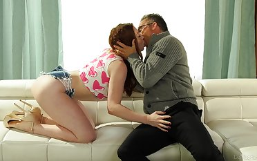 Older step-dad falls for flirty skills of slutty redhead Arietta Adams
