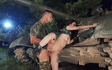 Army hardcore scenes with a young Asian and her officer in charge with