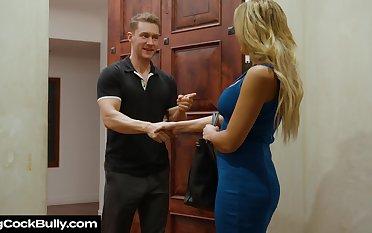 Whore wife Sophia Deluxe sucks boss's cock for husband's hype