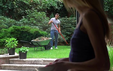 Spying on her sexy gardener leads to some steamy intercourse