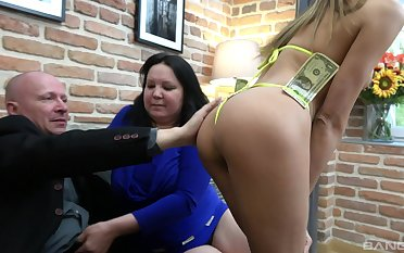 Big ass woman shares teen pussy with her hubby