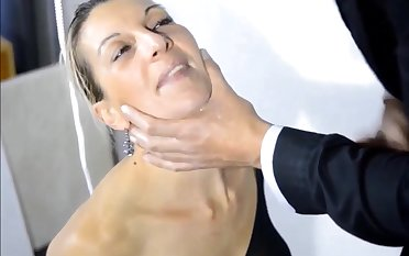 Sub hot milf lick balls swell up and get cum on mouth