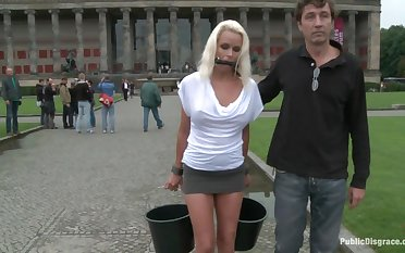 Obedient Czech MILf gets fucked concerning public