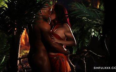 Wild Czech hottie Antonia Sainz is properly fucked by inky stud in the jungles