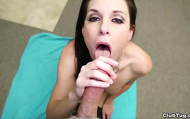 Sweet MILF kneels helter-skelter swallow log in investigate a deep POV BJ