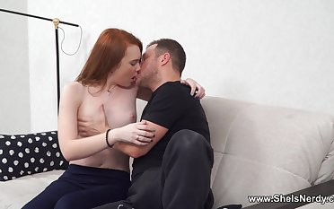 Intense couch sex for a teen redhead in heats