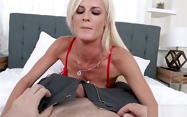Hot Fair-haired MILF In Red Lingerie and Stockings Teases and Fucks Spouse