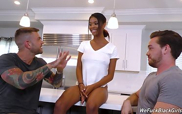 Twosome hot uninspiring guys fuck sexy ebony babe Nia Nacci and cum on her face