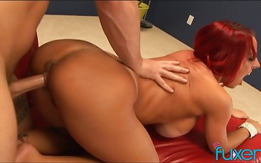 Giant breasted redhead MILF with heavy hot goods is made to ride cock