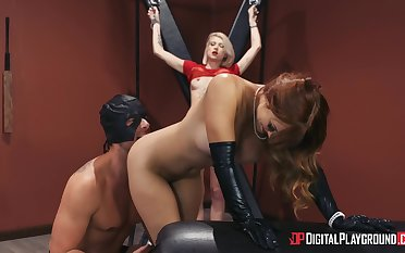 Intense BDSM threesome with sexy Dani Jensen with an increment of Arya Fae