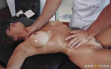 MILF gets facialized by means of insane massage porn