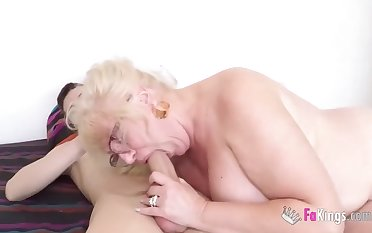Blonde woman with chubby Bristols is having casual sex with a much younger sponger and loving moneyed