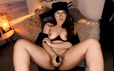 Nice amateur in glasses solo dildo masturbation in the first place webcam