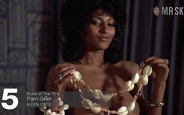 Fantastic and sexy Pam Grier is always near to work all nude on the top of cam