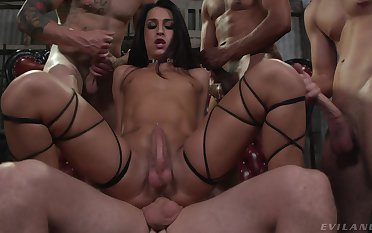 Trans girl Khloe Kay gets gangbanged at the end of one's tether a throng of horny blokes