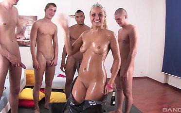 Hardcore spoken gangbang for slutty blonde girlfriend who loves cum