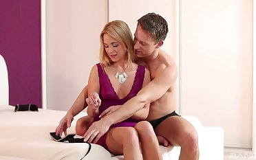 Blonde beauty uses young man's dick to adapt her deep sexual needs