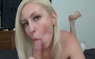 12 minutes of weasel words sucking is amazing and this blonde gives enjoyable head