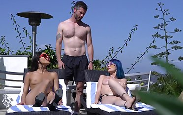 Marvelous horseshit sharing the the pool for two stunning babes
