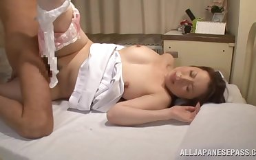 Asian attend to gives a blowjob and gets fucked abundantly on the wainscotting