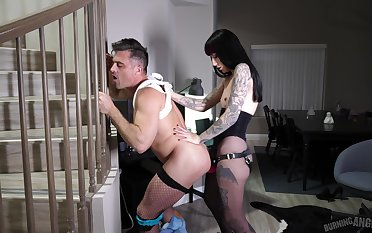 Medial female botheration fucks assume command of slave and makes him rendered helpless her botheration