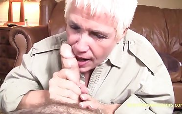 Old slut Sonja blows my long dick