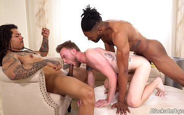 Roused gay lover gets blacked surrounding a merciless trio