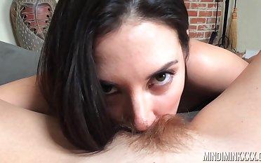 Jelena Jensen licks hairy pussy of sexy milf Mindi Mink up hot POV film over