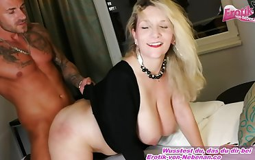 German Amateurish Big Gut Mother Seduced From Son
