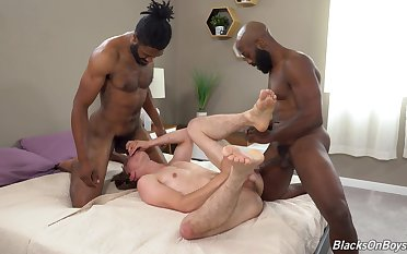 Gay lad gets blacked in full anal threesome