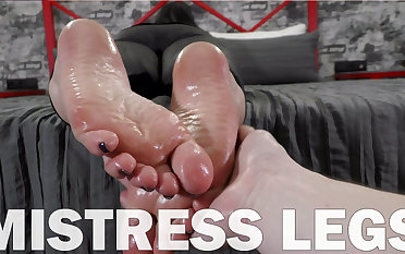 POV slave oils my soles together with arms