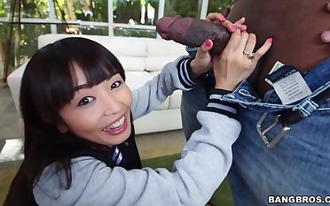 Bush-leaguer Japanese chick Marica Hase gets fucked hard wide of a black stud