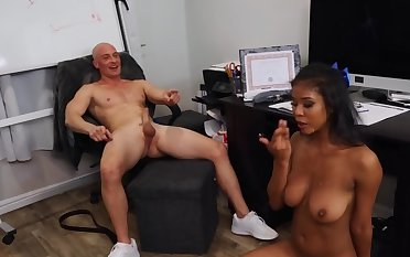 After abandoned distraction bald coach relaxes by shagging Ebony cheerleader