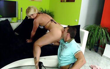 Dirty blonde slut gets her ass licked and fucked horse feathers deep