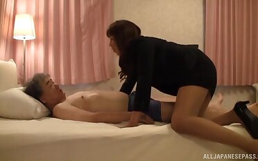 Fujishita Rika bends over forth Christian religion oblation her cunt doggystyle