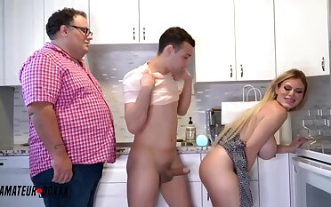 Amazing light-haired COUGAR with phat, rigid breasts is juggling regarding and down while having casual fuck-fest