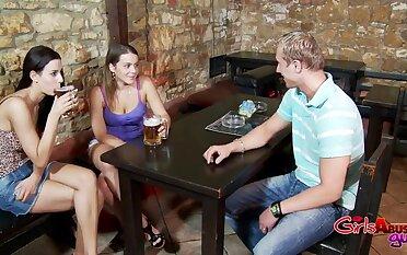 Dude enjoys getting pegged by Natasha Nice & Vanessa Black