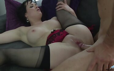 Shaved pussy wife Tanya Cox surrounding lingerie increased by stockings gets fucked