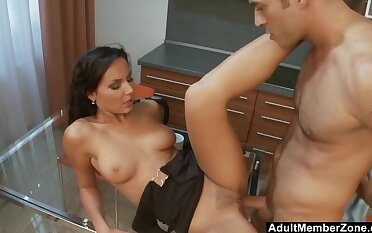 Kitchen Coitus with Perky Tit EuroBabe w Trimmed Pussy