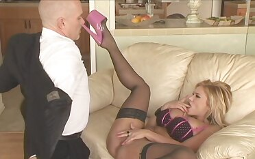 Blonde cooky Shyla Stylez rides a bushwa while her boobs bounce