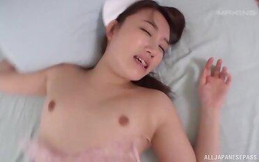 Shy Japanese nurse Sazanami Rino opens her paws to be fucked