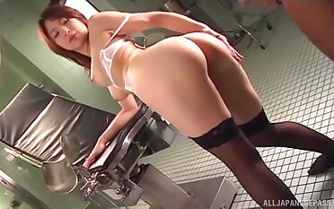 Nice fucking relating to a double-dealing Japanese babe in lingerie and stockings
