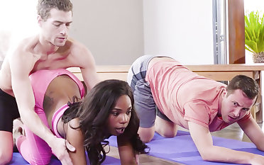 Horny black babe fucks her yoga instructor and her buddy