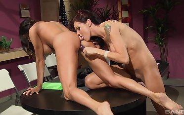 Lesbian fantasy on the toy cock for Sea J Raw and Ariella Ferrara