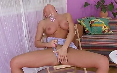 Superb milf solo on a chair with Silvia Saint